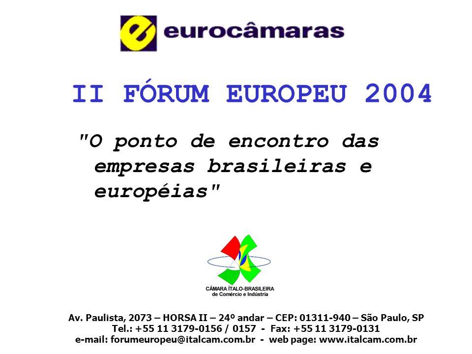 FÓRUM EUROPEU 2003 19 e 20 NOVEMBRO 10 CÂMARAS PARTICIPANTES 119 ESPOSITORES 5.000 VISITANTES SEMINÁRIOS REALIZADOS: RELAÇÕES TRILATERAIS BRASIL x ALCA x UE INVESTIMENTOS EUROPEUS NO BRASIL