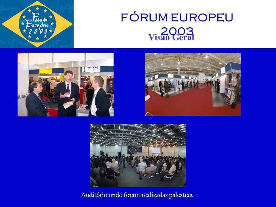 FÓRUM EUROPEU 2004 27 e 28 OUTUBRO EXPO CENTER TRANSAMÉRICA 19 CÂMARAS PARTICIPANTES 180 ESPOSITORES 7.000 VISITANTES CUSTO DO ESPAÇO COM 1 ESTANDE DE 9m² : R$ 3.500,00 SEMINÁRIOS SOBRE: ENERGIA TURISMO CAMINHOS PARA O DESENVOLVIMENTO DO BRASIL PEQUENAS E MÉDIAS EMPRESAS
