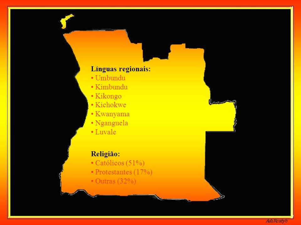 Principais grupos etno-linguísticos: Kicongo Kimbundo Lunda-Tchokwe Mbundo Xindonga Nganguela Nyaneca-Humbe Ambo Helelo