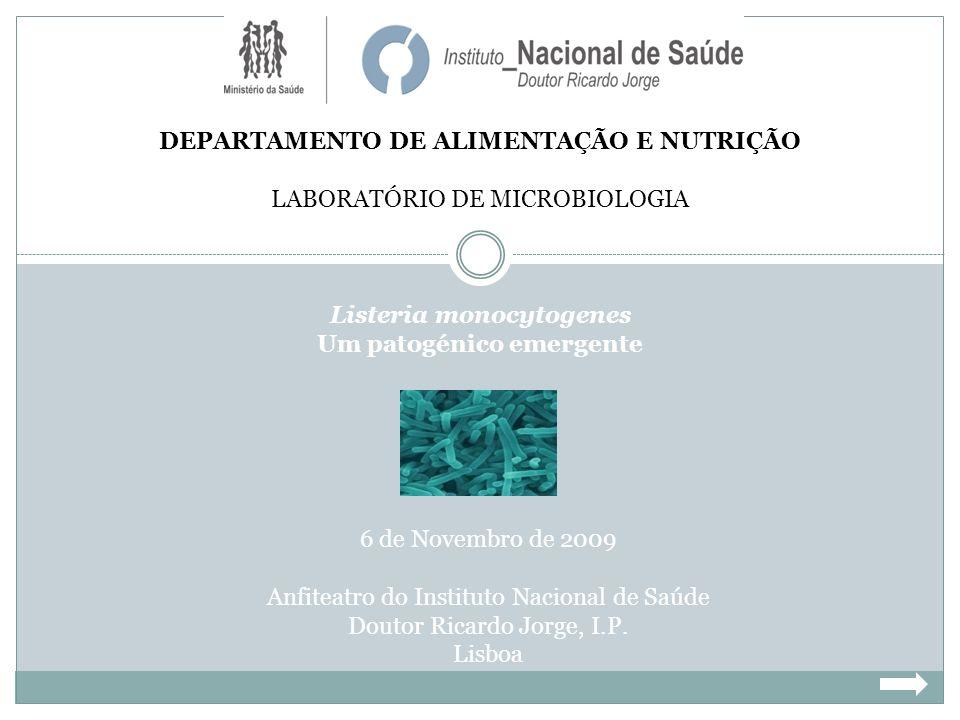 DEPARTAMENTO DE ALIMENTAÇÃO E NUTRIÇÃO LABORATÓRIO DE MICROBIOLOGIA Listeria monocytogenes Um patogénico emergente 6 de Novembro de 2009 Anfiteatro do