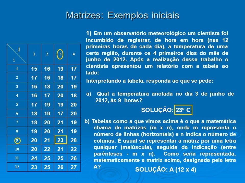 c) Usualmente representamos por a ij a um elemento qualquer da matriz A, sendo que i é o indicativo da linha e j, o indicativo da coluna ocupadas pelo elemento em questão.