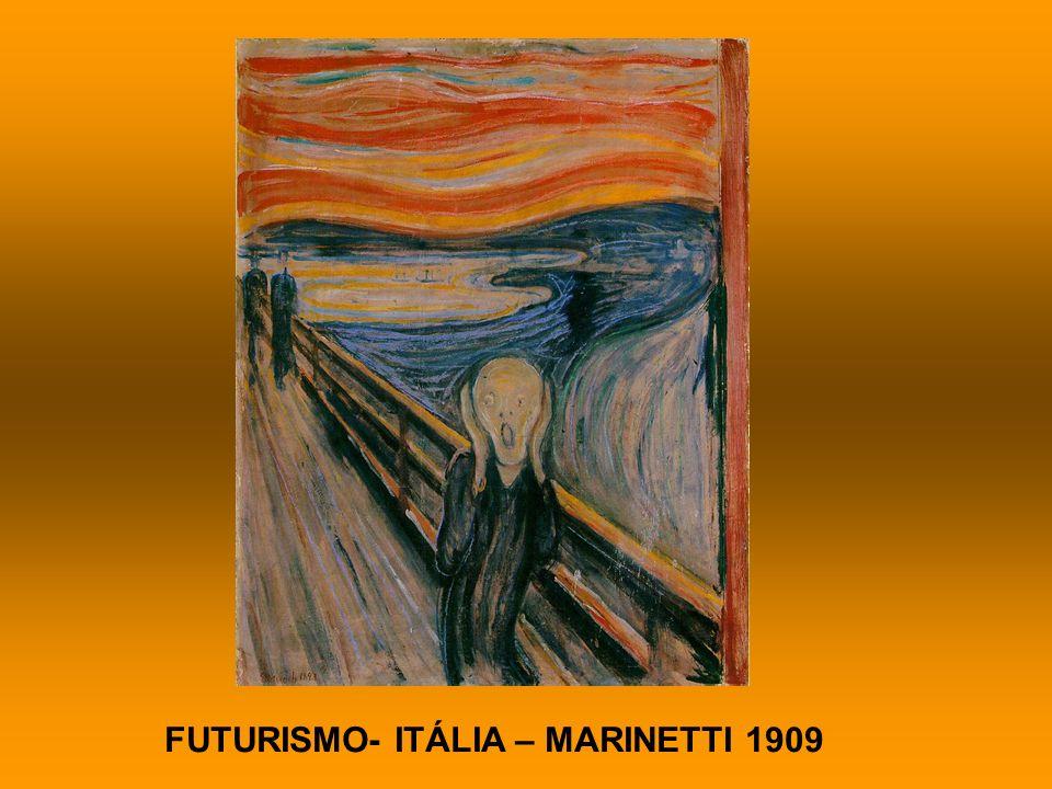 FUTURISMO- ITÁLIA – MARINETTI 1909