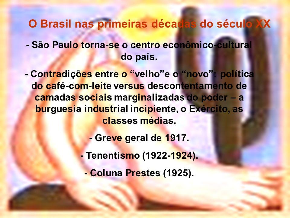 O Brasil nas primeiras décadas do século XX - São Paulo torna-se o centro econômico-cultural do país. - Contradições entre o velhoe o novo: política d