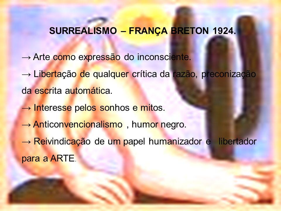 SURREALISMO – FRANÇA BRETON 1924. Arte como expressão do inconsciente. Libertação de qualquer crítica da razão, preconização da escrita automática. In
