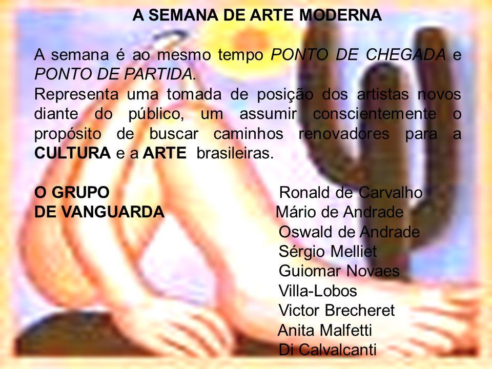 A SEMANA DE ARTE MODERNA A semana é ao mesmo tempo PONTO DE CHEGADA e PONTO DE PARTIDA. Representa uma tomada de posição dos artistas novos diante do