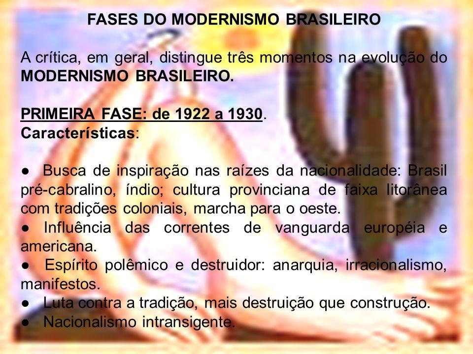 FASES DO MODERNISMO BRASILEIRO A crítica, em geral, distingue três momentos na evolução do MODERNISMO BRASILEIRO. PRIMEIRA FASE: de 1922 a 1930. Carac