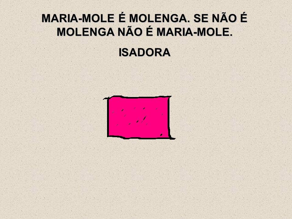 MARIA-MOLE É MOLENGA. SE NÃO É MOLENGA NÃO É MARIA-MOLE. ISADORA