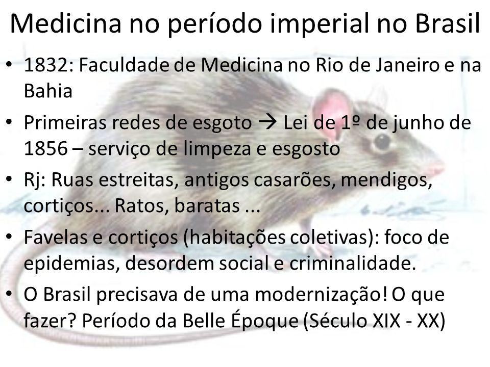 Medicina no período imperial no Brasil 1832: Faculdade de Medicina no Rio de Janeiro e na Bahia Primeiras redes de esgoto Lei de 1º de junho de 1856 –