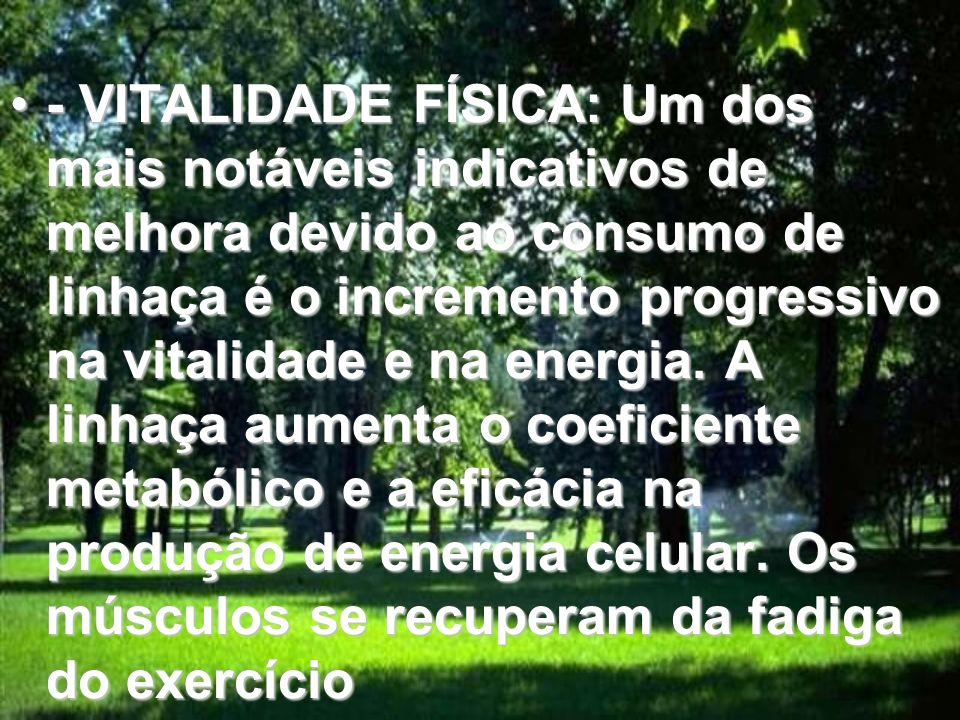 - VITALIDADE FÍSICA: Um dos mais notáveis indicativos de melhora devido ao consumo de linhaça é o incremento progressivo na vitalidade e na energia. A