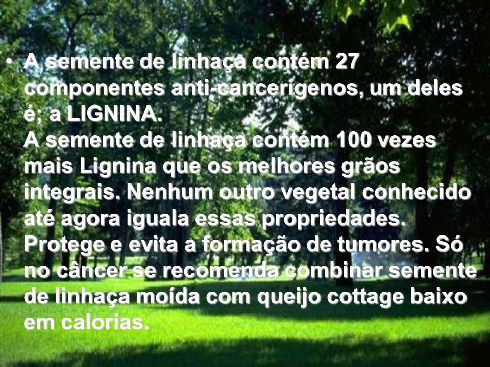 A semente de linhaça contém 27 componentes anti-cancerígenos, um deles é; a LIGNINA. A semente de linhaça contém 100 vezes mais Lignina que os melhore