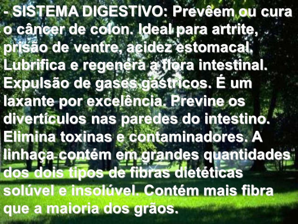 - SISTEMA DIGESTIVO: Prevêem ou cura o câncer de colon. Ideal para artrite, prisão de ventre, acidez estomacal. Lubrifica e regenera a flora intestina