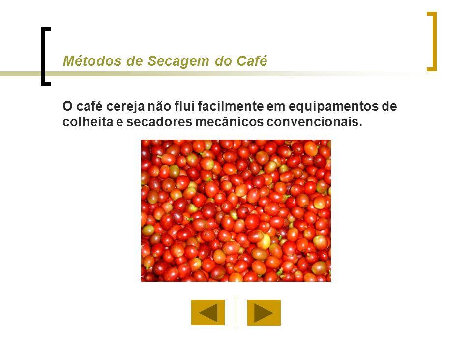 Métodos de Secagem do Café Algumas inovações nos métodos de secagem vem sendo feitas para: a) Aumentar a capacidade de secagem b) Aumentar a eficiência no uso de energia na secagem convencional de café c) Manter alta qualidade do café