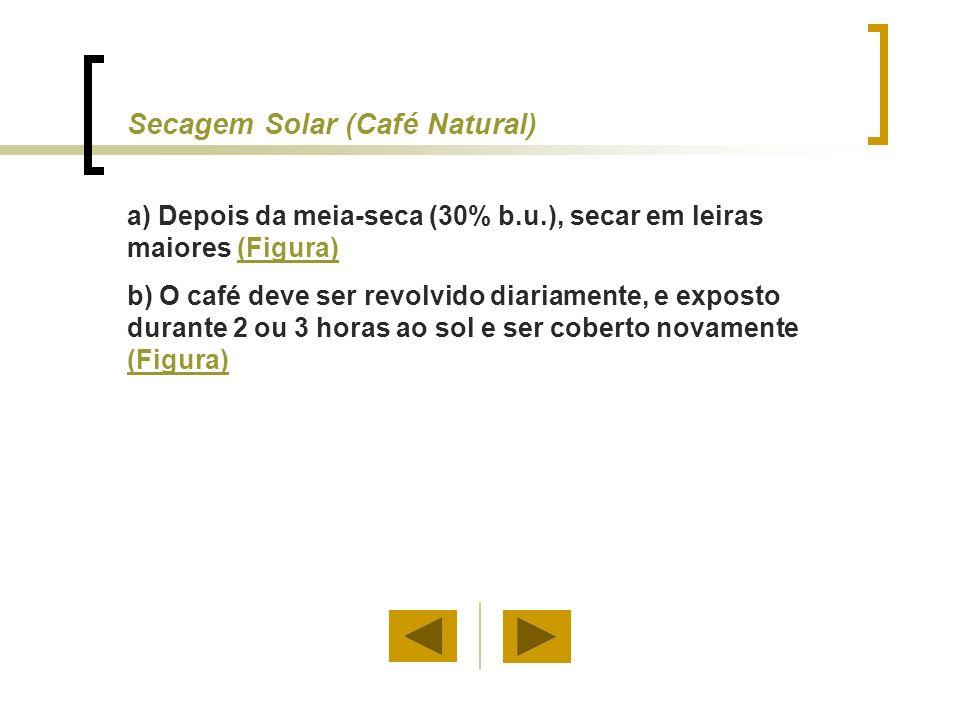 Secagem Solar (Café Descascado) A secagem solar de café descascado segue procedimentos similares aos usados para o café natural.
