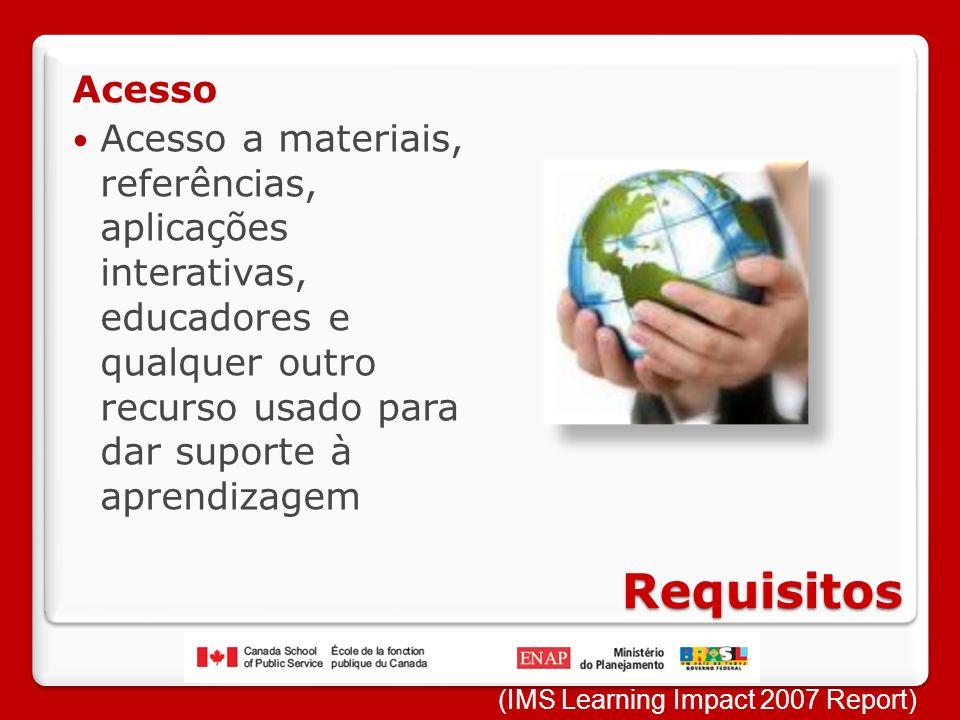 Requisitos Acesso Acesso a materiais, referências, aplicações interativas, educadores e qualquer outro recurso usado para dar suporte à aprendizagem (IMS Learning Impact 2007 Report)