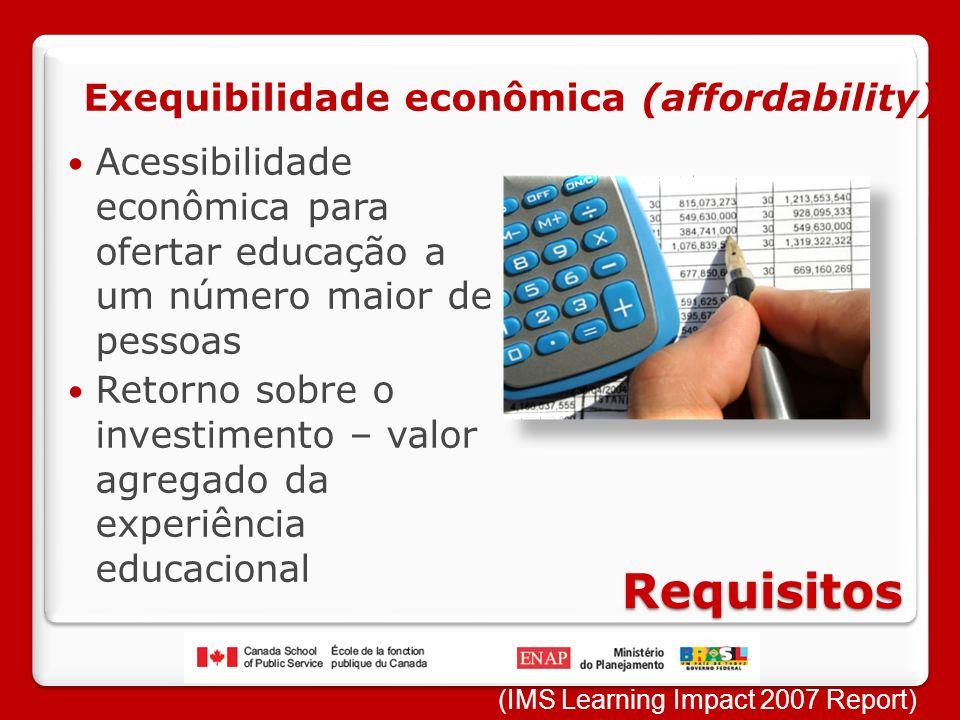 Requisitos Acessibilidade econômica para ofertar educação a um número maior de pessoas Retorno sobre o investimento – valor agregado da experiência educacional Exequibilidade econômica (affordability) (IMS Learning Impact 2007 Report)
