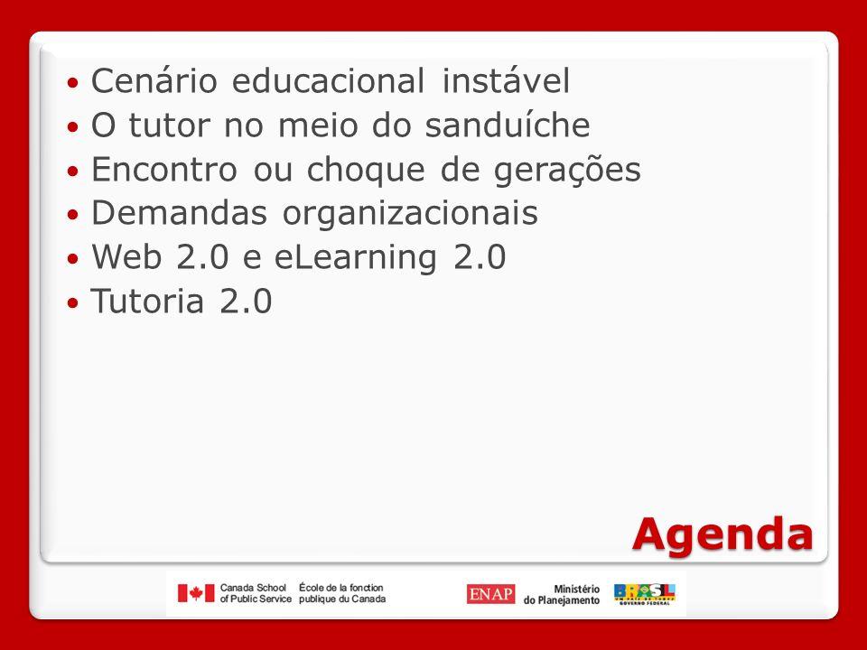 Agenda Cenário educacional instável O tutor no meio do sanduíche Encontro ou choque de gerações Demandas organizacionais Web 2.0 e eLearning 2.0 Tutoria 2.0