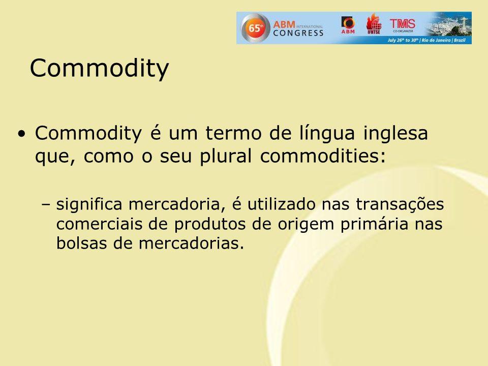 Commodity Commodity é um termo de língua inglesa que, como o seu plural commodities: –significa mercadoria, é utilizado nas transações comerciais de p
