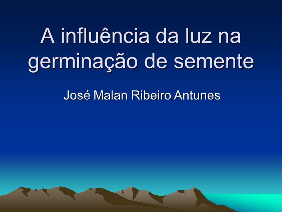 A influência da luz na germinação de semente José Malan Ribeiro Antunes