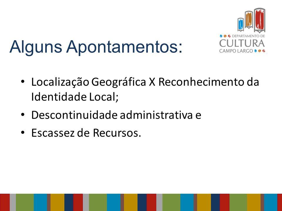 Alguns Apontamentos: Localização Geográfica X Reconhecimento da Identidade Local; Descontinuidade administrativa e Escassez de Recursos.