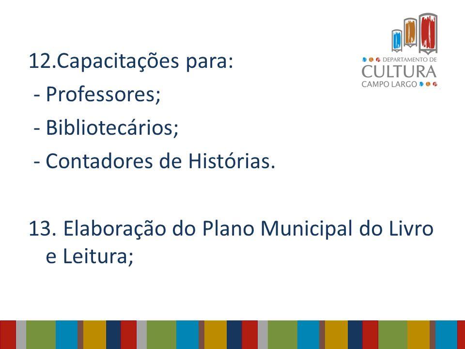 12.Capacitações para: - Professores; - Bibliotecários; - Contadores de Histórias. 13. Elaboração do Plano Municipal do Livro e Leitura;