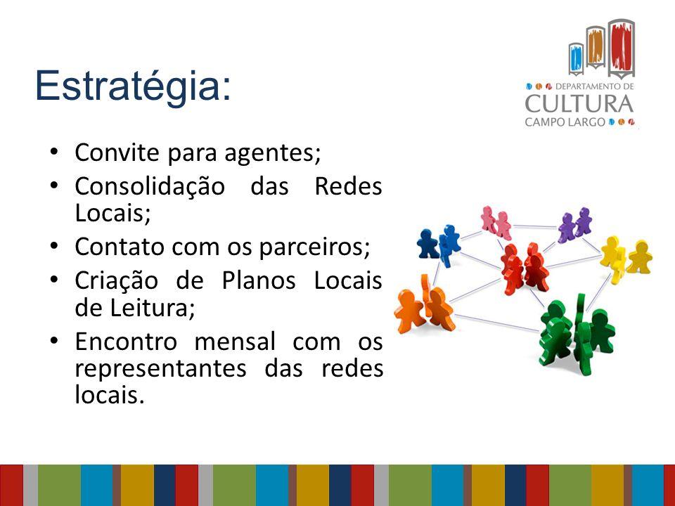 Estratégia: Convite para agentes; Consolidação das Redes Locais; Contato com os parceiros; Criação de Planos Locais de Leitura; Encontro mensal com os
