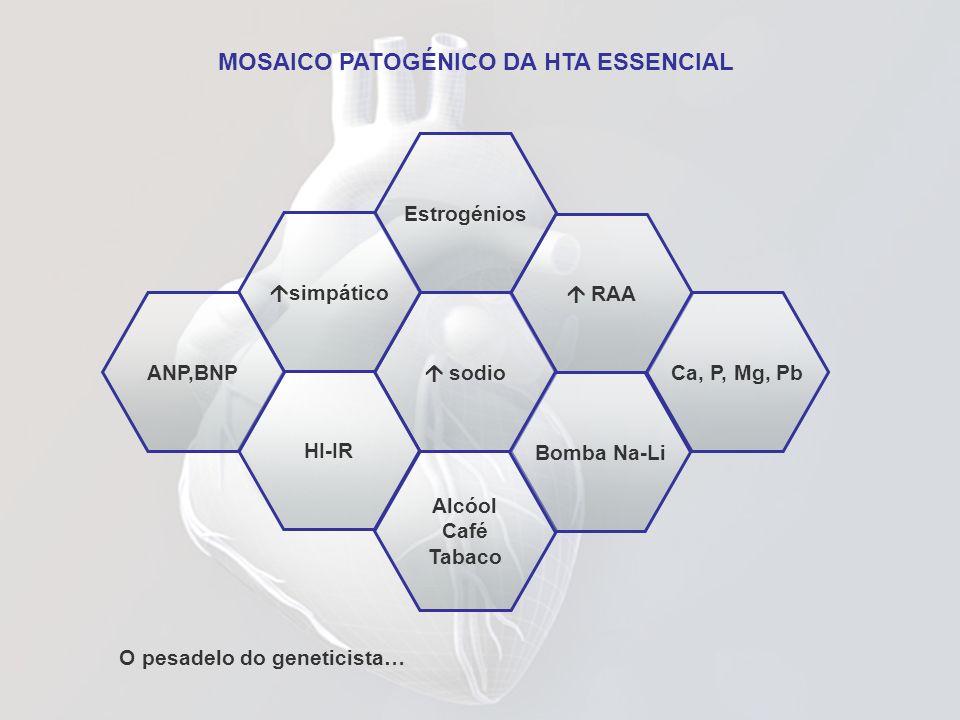 Estrogénios RAA sodio simpático HI-IR Alcóol Café Tabaco Bomba Na-Li ANP,BNPCa, P, Mg, Pb MOSAICO PATOGÉNICO DA HTA ESSENCIAL O pesadelo do geneticist