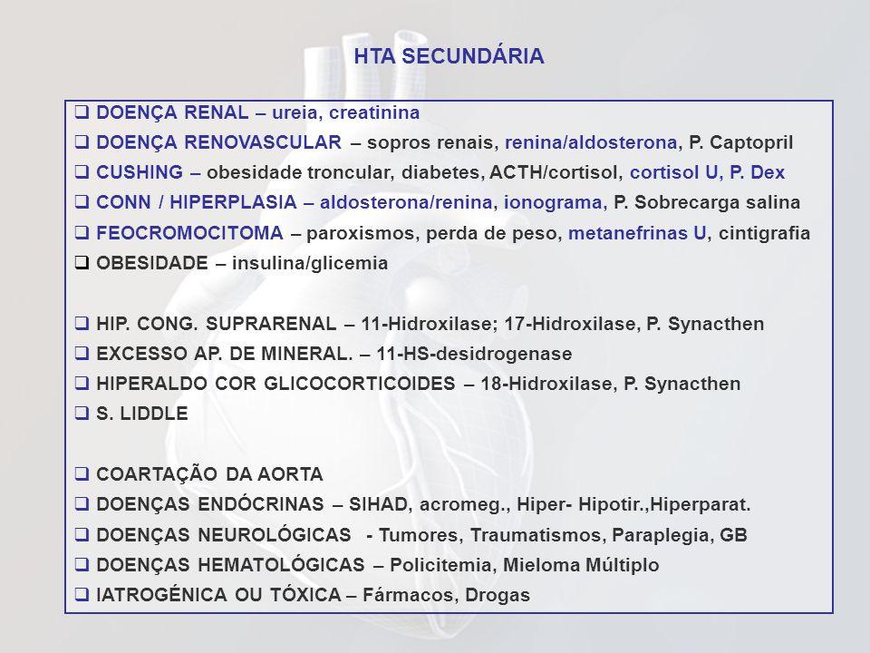 HTA SECUNDÁRIA DOENÇA RENAL – ureia, creatinina DOENÇA RENOVASCULAR – sopros renais, renina/aldosterona, P. Captopril CUSHING – obesidade troncular, d
