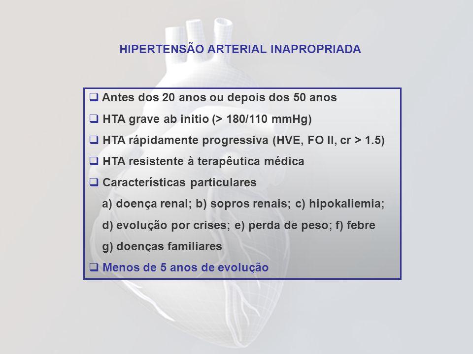 HIPERTENSÃO ARTERIAL INAPROPRIADA Antes dos 20 anos ou depois dos 50 anos HTA grave ab initio (> 180/110 mmHg) HTA rápidamente progressiva (HVE, FO II