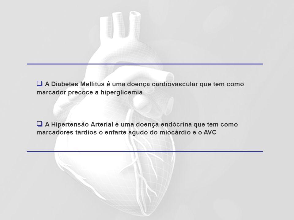 A Diabetes Mellitus é uma doença cardiovascular que tem como marcador precoce a hiperglicemia A Hipertensão Arterial é uma doença endócrina que tem co