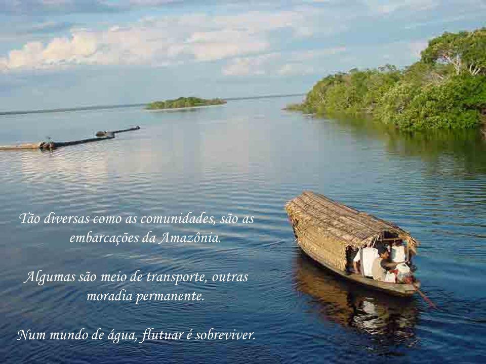 Tão diversas como as comunidades, são as embarcações da Amazônia. Algumas são meio de transporte, outras moradia permanente. Num mundo de água, flutua