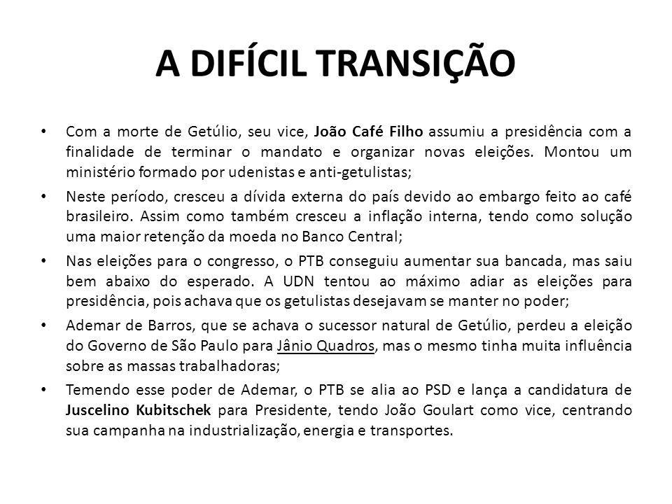 A DIFÍCIL TRANSIÇÃO Com a morte de Getúlio, seu vice, João Café Filho assumiu a presidência com a finalidade de terminar o mandato e organizar novas e