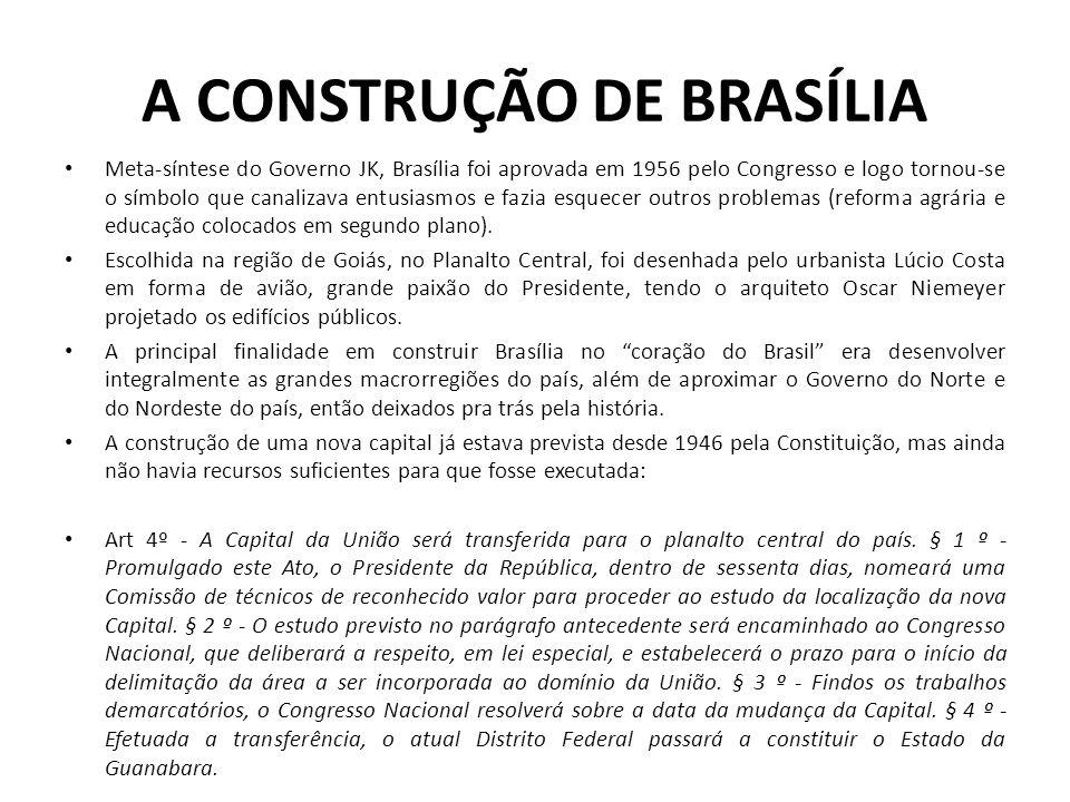 A CONSTRUÇÃO DE BRASÍLIA Meta-síntese do Governo JK, Brasília foi aprovada em 1956 pelo Congresso e logo tornou-se o símbolo que canalizava entusiasmo