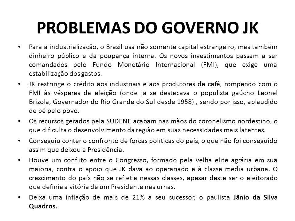 PROBLEMAS DO GOVERNO JK Para a industrialização, o Brasil usa não somente capital estrangeiro, mas também dinheiro público e da poupança interna. Os n