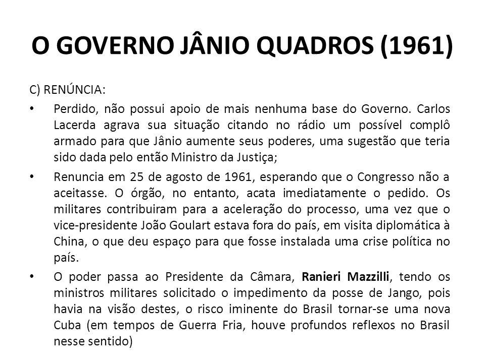 C) RENÚNCIA: Perdido, não possui apoio de mais nenhuma base do Governo. Carlos Lacerda agrava sua situação citando no rádio um possível complô armado