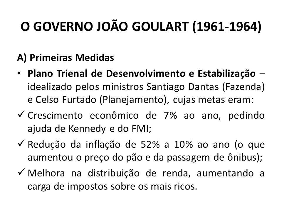 A) Primeiras Medidas Plano Trienal de Desenvolvimento e Estabilização – idealizado pelos ministros Santiago Dantas (Fazenda) e Celso Furtado (Planejam