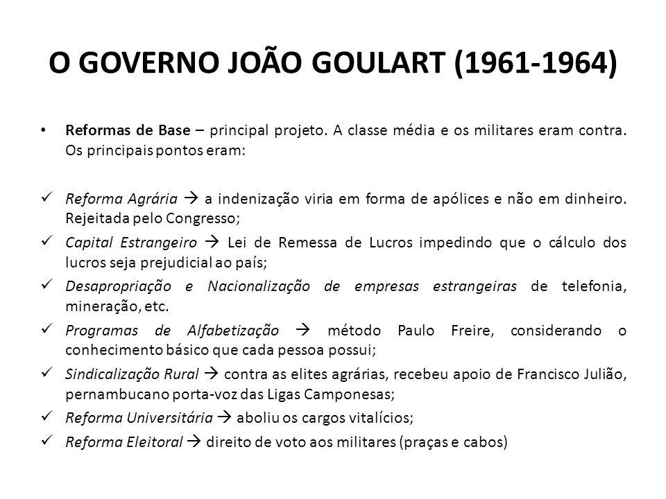 O GOVERNO JOÃO GOULART (1961-1964) Reformas de Base – principal projeto. A classe média e os militares eram contra. Os principais pontos eram: Reforma