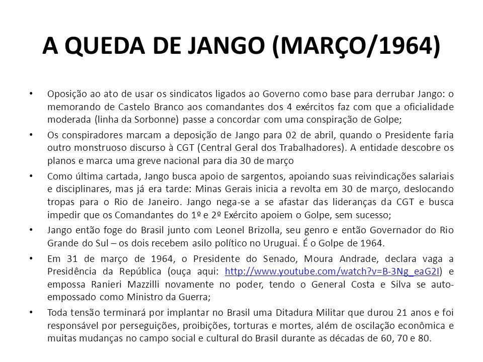A QUEDA DE JANGO (MARÇO/1964) Oposição ao ato de usar os sindicatos ligados ao Governo como base para derrubar Jango: o memorando de Castelo Branco ao