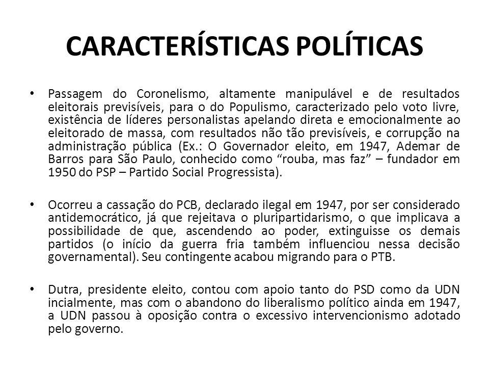 CARACTERÍSTICAS POLÍTICAS Passagem do Coronelismo, altamente manipulável e de resultados eleitorais previsíveis, para o do Populismo, caracterizado pe