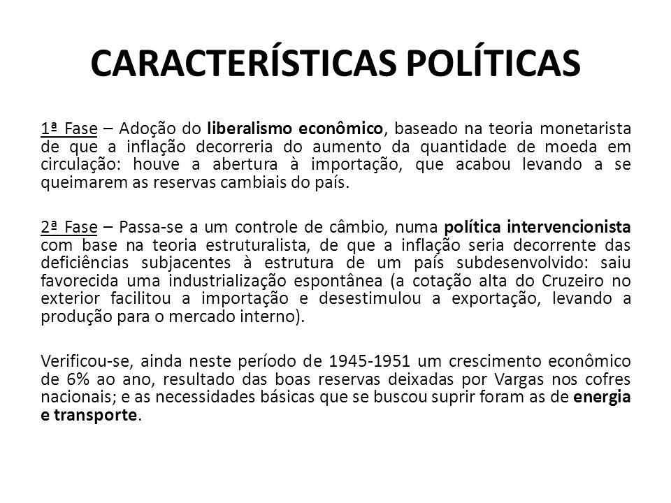 CARACTERÍSTICAS POLÍTICAS 1ª Fase – Adoção do liberalismo econômico, baseado na teoria monetarista de que a inflação decorreria do aumento da quantida
