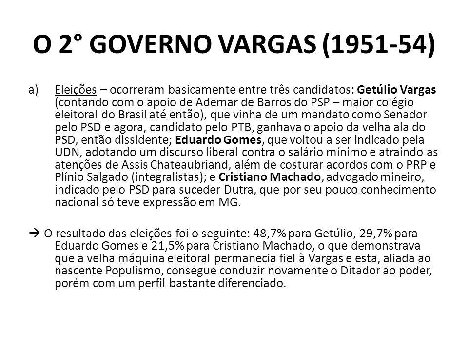 O 2° GOVERNO VARGAS (1951-54) a)Eleições – ocorreram basicamente entre três candidatos: Getúlio Vargas (contando com o apoio de Ademar de Barros do PS