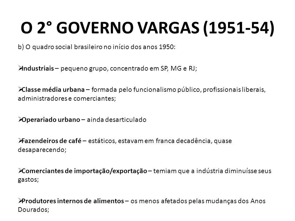 b) O quadro social brasileiro no início dos anos 1950: Industriais – pequeno grupo, concentrado em SP, MG e RJ; Classe média urbana – formada pelo fun