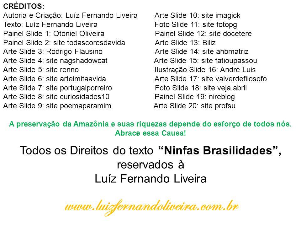 CRÉDITOS: Autoria e Criação: Luíz Fernando Liveira Arte Slide 10: site imagick Texto: Luíz Fernando Liveira Foto Slide 11: site fotopg Painel Slide 1: