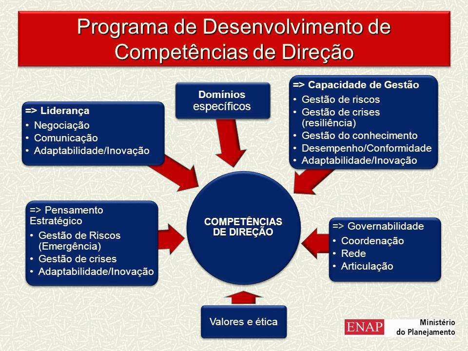 COMPETÊNCIAS DE DIREÇÃO => Pensamento Estratégico Gestão de Riscos (Emergência) Gestão de crises Adaptabilidade/Inovação => Liderança Negociação Comunicação Adaptabilidade/Inovação => Governabilidade Coordenação Rede Articulação => Capacidade de Gestão Gestão de riscos Gestão de crises (resiliência) Gestão do conhecimento Desempenho/Conformida de Adaptabilidade/Inovação Valores e ética Domínios específicos Programa de Desenvolvimento de Competências de Direção