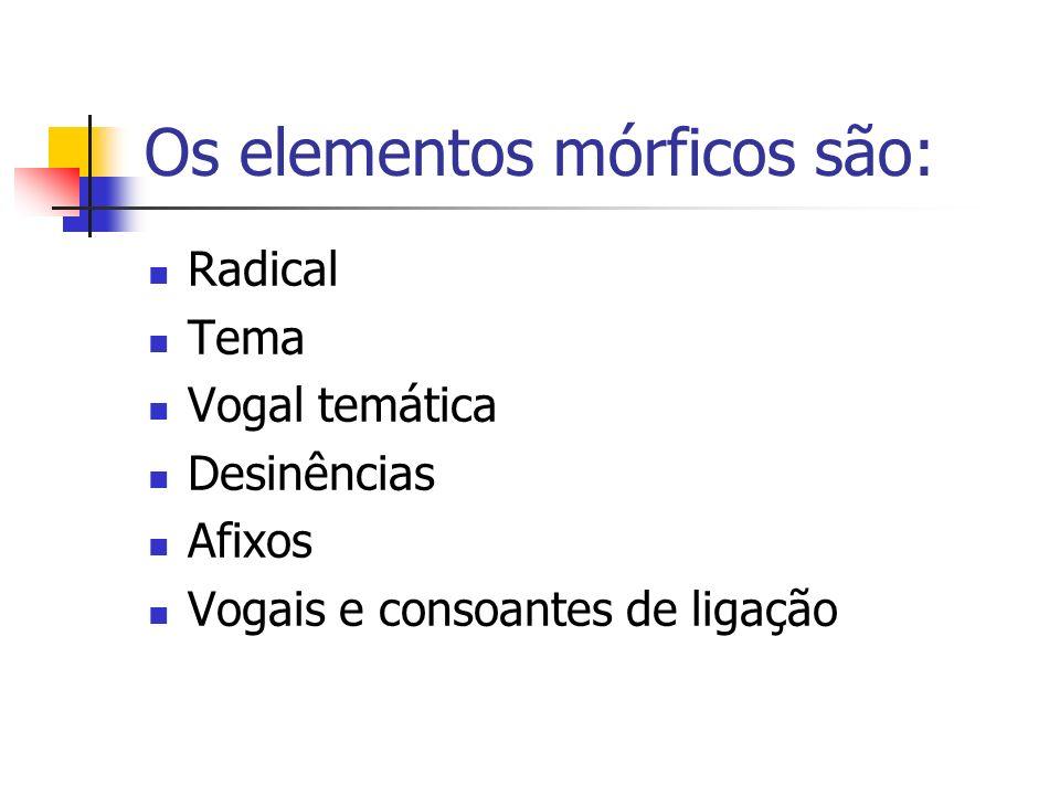 Os elementos mórficos são: Radical Tema Vogal temática Desinências Afixos Vogais e consoantes de ligação