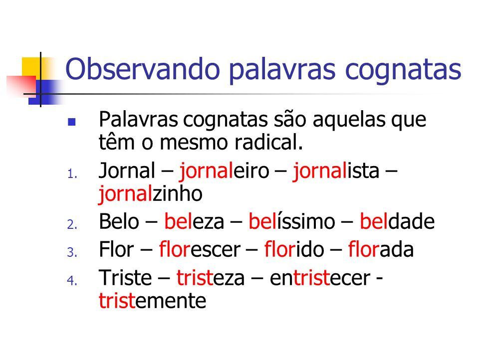 Observando palavras cognatas Palavras cognatas são aquelas que têm o mesmo radical.