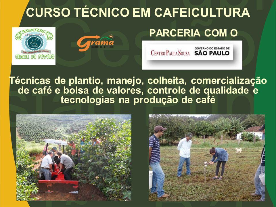 PARCERIA COM O CURSO TÉCNICO EM CAFEICULTURA Técnicas de plantio, manejo, colheita, comercialização de café e bolsa de valores, controle de qualidade