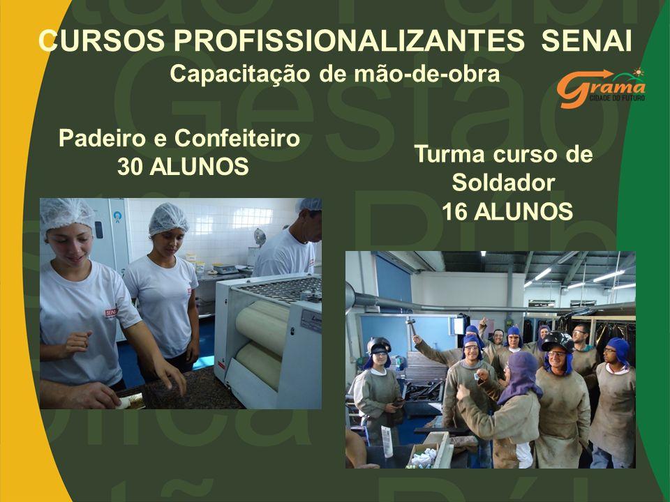 CURSOS PROFISSIONALIZANTES SENAI Capacitação de mão-de-obra Padeiro e Confeiteiro 30 ALUNOS Turma curso de Soldador 16 ALUNOS