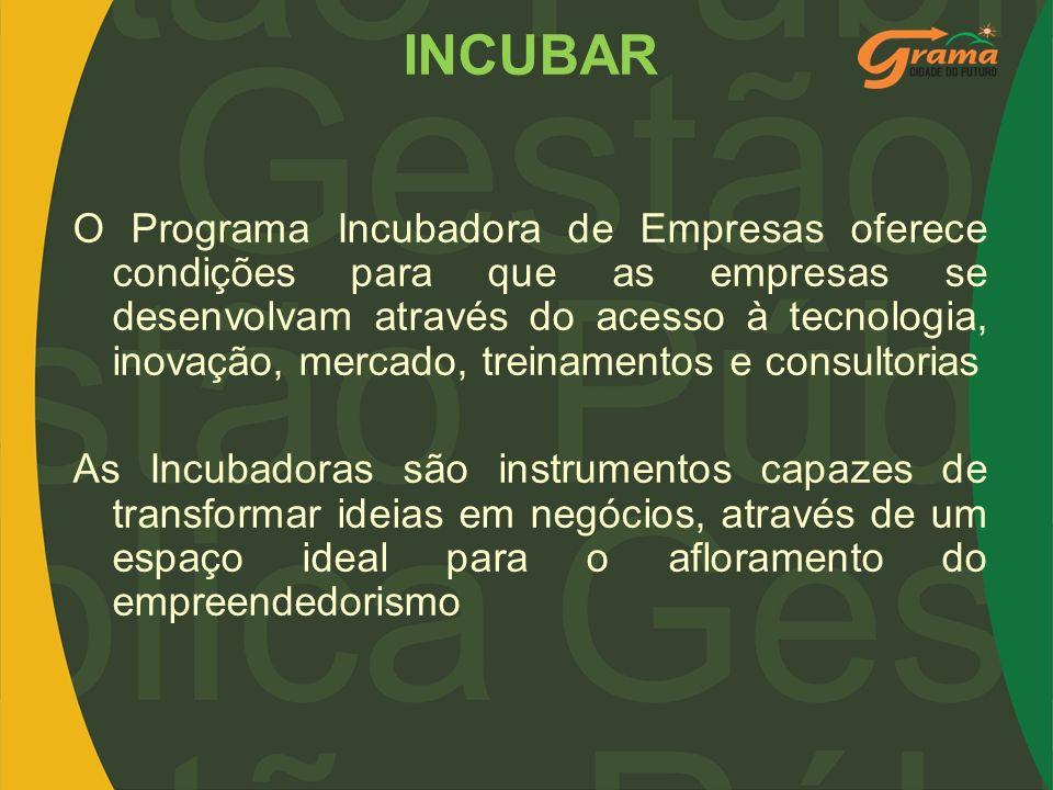 INCUBAR O Programa Incubadora de Empresas oferece condições para que as empresas se desenvolvam através do acesso à tecnologia, inovação, mercado, tre
