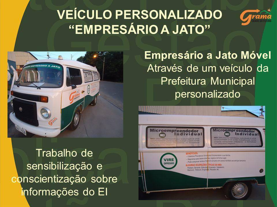 VEÍCULO PERSONALIZADO EMPRESÁRIO A JATO Empresário a Jato Móvel Através de um veículo da Prefeitura Municipal personalizado Trabalho de sensibilização