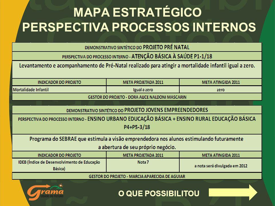 MAPA ESTRATÉGICO PERSPECTIVA PROCESSOS INTERNOS O QUE POSSIBILITOU